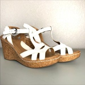 BOC Born White Cork Wedge Sandals 8 NEW